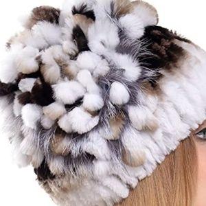 Rabbit Fur Hat- real fur warm skully beenie